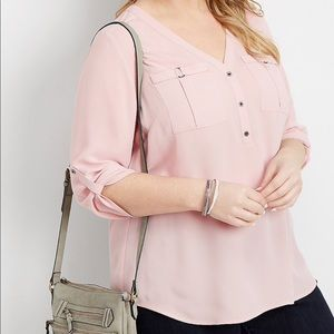 V-Neck Blouse Two Pockets